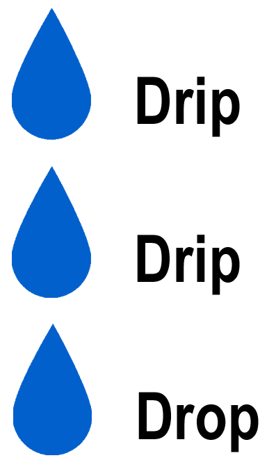 Blue Water Drops with the words Drip Drip Drop in black next to the drops on One Stop Plumbing website
