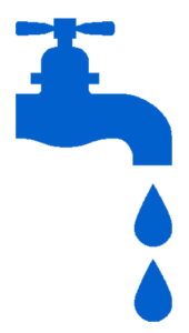 Blue faucet and water drops on One Stop Plumbing website