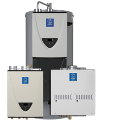 Group of silver commercial tankless water heaters with labels from State Water Heaters on the One Stop Plumbing water heater page