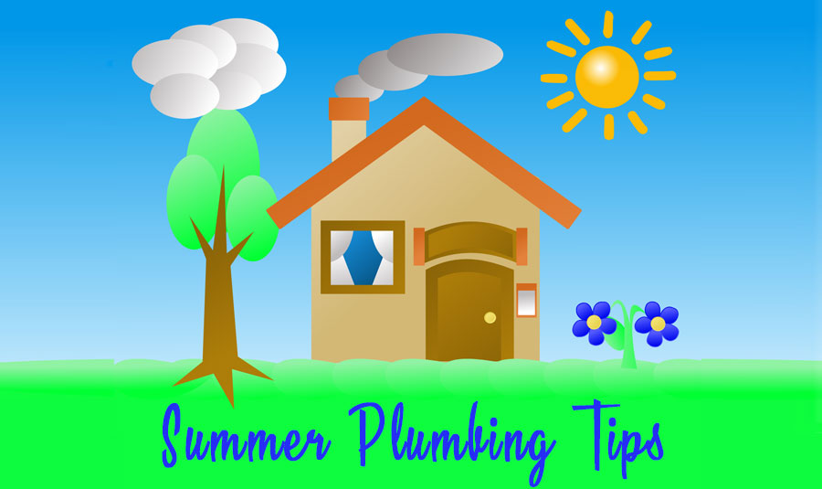 Summer plumbing tips graphic with a colorful illustrated house and big yard